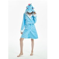 unicornio adulto sudaderas al por mayor-Unisex Animal Hoodies Batas de franela Albornoces adultos Cosplay Traje de dormir Rosa / arco iris Unicornio panda batas de baño homewear