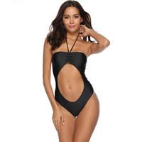 neue heiße frauen bikini großhandel-Einteiliger Badeanzug der heißen Frauen der neuen Frauen, einteiliger Badeanzug der reizvollen Halftergurte, hochwertiger elastischer Bikini