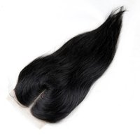 12 zoll remy spitzenverschluss großhandel-Brasilianisches gerades Haar Spitze Schließung 4 * 4 100% Remy Menschenhaar Schweizer Spitze Schließung 8-18 Zoll Freies Mitte Drei Teil Natürliches schwarzes Haar