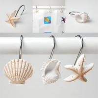 ganchos de estrela do mar venda por atacado-Branco marrom ganchos de suspensão resina cortina de banho gancho estrela do mar concha modelagem artigos de banho EEA434