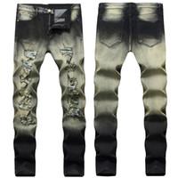 jeans robin pour vêtements hommes achat en gros de-Mens Straight Slim Fit Biker Jeans avec Zip Vêtements pour hommes Distrressed Hole Style Streetwear Robin Jeans de luxe