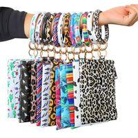 Leopard Bracelet clutch bag 13 styles Wristlet Keychain Bracelets wallet Sunflower Cactus Printed Leather Key Holder Chain Girls purse JY907
