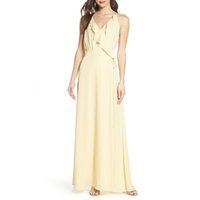 robe jaune fluide achat en gros de-Robe de demoiselle d'honneur jaune clair 2019 Robe De Festa Longo Débordant En Mousseline De Soie Femmes Invité Robe De Plage De Mariage