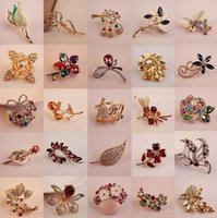 Wholesale mixed brooches silver resale online - 10pcs Mix Style Fashion Crystal Jewelry Brooches Pins For Jewelry Craft Gift PR12