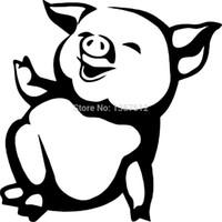 cerdo de vinilo al por mayor-HotMeiNi Al Por Mayor 20 unids / lote Divertido Cerdo Granja Animal Etiqueta Engomada Del Coche Para Camión Ventana Parachoques Auto SUV Puerta Kayak Vinyl Decal 8 colores