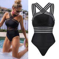 bodysuit fêmea de uma parte venda por atacado-One-Piece Bandage Mulheres Sexy swimwear verão Mulheres Bikini Monokini maiô feminino maiô Beach Wear Bodysuit
