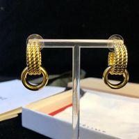 Wholesale knot studs resale online - Women Luxury Wedding Gold Earrings K Gold plated gold tassel ear studs Luxury fashion hoop earrings gift
