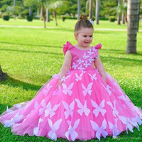 Wholesale butterfly little girl dresses resale online - Butterfly Princess Little Baby s Birthday Party Dresses Jewel Neck Tulle Kids Prom Gown for Wedding Puffy Skirt First Communion Dresses