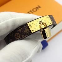 acessórios de moda de qualidade venda por atacado-Novas pulseiras de couro genuíno estilo com bloqueio de ouro design de acessórios para as mulheres top quality pulseira de luxo padrão de flor moda jóias