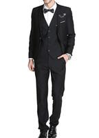 siyah resmi ceket mens toptan satış-Erkek takım elbise 3 Parça Suit Blazer Ceket Fit Akıllı Örgün Yemeği Ceket Yelek Pantolon Slim Fit 3 Parça Resmi Takım Elbise siyah
