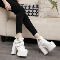 14cm schwarze stiefel großhandel-STAN SHARK Damen Stiefel mit dickem Boden und kurzen Stiefel Weiß Super High Mit Punk-Performance hochhackige kurze Schuhe schwarz 14CM