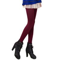 зимние теплые леггинсы оптовых-Amazing Solid Color Autumn Winter High Elastic Lady's Leggings Warm Pants for Women