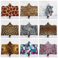 zebras plüsch großhandel-Leopard Druck Sherpa Hooded Thorw Decke 150 * 130cm 3D Printed Zebra Kids Winter-Plüsch-Kinder-Mantel-Kap-Schal-Sofa Fleece Wrap LJJA3183