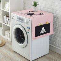 máquina de lavar roupa venda por atacado-Dos desenhos animados Dual-purpose Algodão Linho Tampa À Prova de Poeira Máquina de Lavar Cozinha Frigorífico Sacos De Armazenamento com Bolsas Organizador