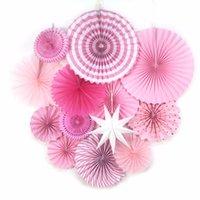 ingrosso fan di carta rosa-13pcs / Set Pink Theme Party Fornitore Fan di carta Hanging Decorations Rosette di carta Sfondo compleanno Nuziale Showers Matrimoni Decor
