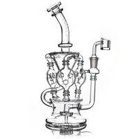ingrosso bong olio di tornado-2019 Klein Recycler Tornado Percolator Bong in vetro Bong Pipe Bong Tubi per acqua Oil Dab Rigs con inebriante Banger al quarzo o Herb Bowl dabber nail
