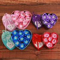 Wholesale artificial heart roses for sale - Group buy Heart Shaped Rose Soap Flowers Romantic Wedding Party Gift Artificial Rose Flower Decor Health Care Tool Petals Real Touch LX8438
