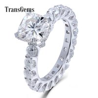 Wholesale cushion cut moissanite resale online - Transgems Carat Cushion Cut mm Moissanite Diamond F Color Wedding Engagement Ring14k White Gold For Women J