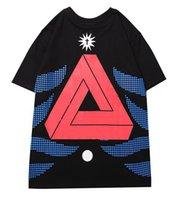 teste padrão novo camisetas venda por atacado-Designer homens camisetas Nova Gola Alta Moda T-shirts Impressão Triângulo Padrão Camiseta Contraste Comfort Algodão Cor camisetas palácios camisas