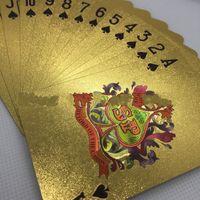 игральные карты texas оптовых-Покрытая золотой фольгой игральные карты пластиковый покер водонепроницаемый техас соковыжималка творческая настольная игра в шахматы бизнес подарки 6 5xy C1