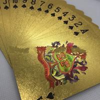 ingrosso biglietto da visita oro-Lamina d'oro placcato carte da gioco di plastica poker impermeabile Texas Squeezer creativo scacchiera gioco d'affari regali 6 5xy C1