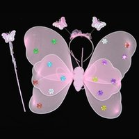 Wholesale black cosplay wings online - 3Pcs set Cosplay Costume Clothing Princess Kids Girl Butterfly Wing Wand Headband Fairy Christmas Party Decorations