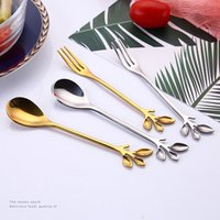 Tree branch Spoon fork Stainless steel gold dessert coffee spoons Home Kitchen Dining Flatware Drop Ship