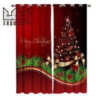 rideaux de cuisine pour noël achat en gros de-Exquis Maison Merry Christmas Tree Traitements de fenêtre Rideaux Valance Salon Cuisine Chambre Intérieur Décor rideau Swag