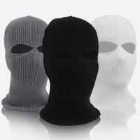 männer gesicht maske winter großhandel-Winter Motion Ski Hut Männer Und Frauen Radfahren Maske Vollgesichts Wind Proof Kopfbedeckungen Fleece Blau Schwarz MMA2158