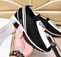 logotipos de zapatos para correr al por mayor-Venta al por mayor D.G Unisex Azul Negro Blanco Tejido Sorrento Sneaker D Logo G Turquesa Malla Zapatillas de deporte Zapatos casuales con caja
