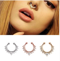 Discount sterling silver nose rings Brick lap ring fake nose ring cartilage ring earrings round sterling silver jewelry female boys and girls