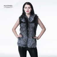 меховые шкуры лисы оптовых-Slim and wam style silver  fur vest real silver  coat nature full pelt winter vest .