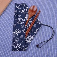 ingrosso favori del partito delle bacchette-2019 bacchette di legno giapponesi e cucchiaio con borsa di stoffa set da tavola portatile bomboniere regalo di ritorno del partito