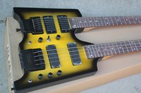 Wholesale mahogany double neck resale online - Factory Custom Strings yellow Headless Double Neck Electric Guitar with Floyd Rose Frets offering customized services