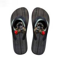 zapatillas personalizadas al por mayor-Personalizado Cute 3D Animal Dachshund Impreso Mujeres Summer House Slippers Beach Flats Zapatos Mujer Flip Flops Sandalias de goma Chica