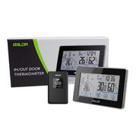dijital kablosuz hava istasyonu termometre toptan satış-Baldr Ev LCD Hava İstasyonu Dokunmatik Düğme In / açık Sıcaklık Nem Kablosuz Sensör Higrometre Saat Dijital Termometre