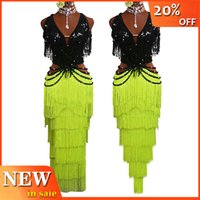 lateinische wettkampfkleider groihandel-Sexy Latin Dance Competition Kleid Flash-Sequin Tanz Tops Fluorescent Yellow Fringe Skirt Women Performance Samba Kleid BL3003