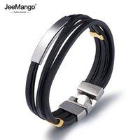 gold-armbänder großhandel-JeeMango Multi Schichten Echtes Leder Armbänder Für Männer Gold Farbe Stahl Punk Wrist Wrap Armband Casual Schmuck Geschenk JOPH1133