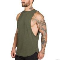chemises musculaires achat en gros de-2019 nouvelle mode gymnases vêtements pour hommes entraînement singulet musculation débardeur autour du cou hommes fitness gilet muscle sans manches chemise