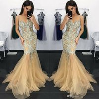 Wholesale prom dresses elegant crystals red resale online - Straps Champagne Elegant Mermaid Long Evening Dresses Crystals Beaded Organza Formal Prom Gowns Vintage Sexy Illusion Bodices Party Wear