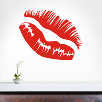 сексуальные фрески оптовых-Kissing Sexy Lip Pattern Wall Stickers Home Livingroom Fashion Style Modern  Large Size Accessories Wall Murals Living Room