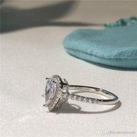 birnenringe großhandel-T Soleste Birnenform Ringe Luxus Diamant Ring Liebe berühmte Marke Designer Schmuck 925 Sterling Silber Engagement Ehering Geschenk