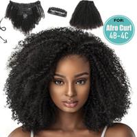 extensiones de cabello de reinas al por mayor-8pcs Riainbow Queen / set Clip Afro rizado rizado de Remy de la onda del pelo humano en extensiones de cabello 8
