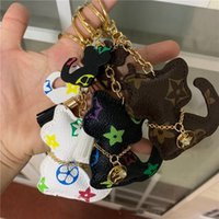 Wholesale key ring charm holder resale online - New Brand Key Chains PU Leather Cartoon Teddy Bear Cat Design Fashion Keychain Charms Accessories Animal Keyring Ring Holder Car Bag Jewelry