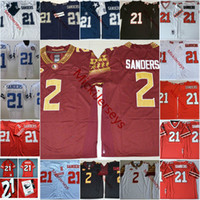 futebol ncaa venda por atacado-Mens NCAA # 2 Deion Sanders Florida State Seminoles College Football Jerseys Bordado costurado # 21 Deion Sanders Jersey S-3XL