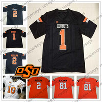 3f667ae2ca0 Oklahoma State Cowboys #1 Dez Bryant 2 Mason Rudolph 21 Barry Sanders 24  Tyreek Hill 34 Thurman Thomas White Orange Black Vintage Jersey