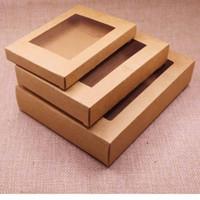 boîtes en pvc claires pour les cadeaux achat en gros de-Paquet de papier-cadeau en papier kraft avec fenêtre en PVC transparent 50pcs