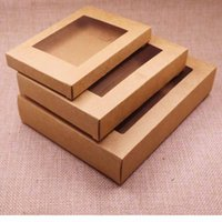 hediye için açık pvc kutuları toptan satış-Temizle pvc pencere ile Kraft kağıt hediye kutusu paketi 50 adet