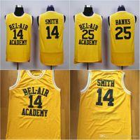 gelber schmied großhandel-Herren 14 WILL SMITH Trikots The Fresh Prince 25 Carlton Banks Trikot 100% genäht Throwback Basketball Trikots Gelb