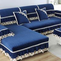 luxus wohnzimmermöbel großhandel-Europa Luxus Sofabezüge für Wohnzimmer Schnitt Plüsch Schonbezug Spitzendekor Ecksofa Abdeckung Handtuch Wohnmöbel Protector